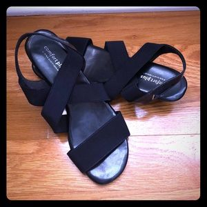 Navy wedge sandals size 9